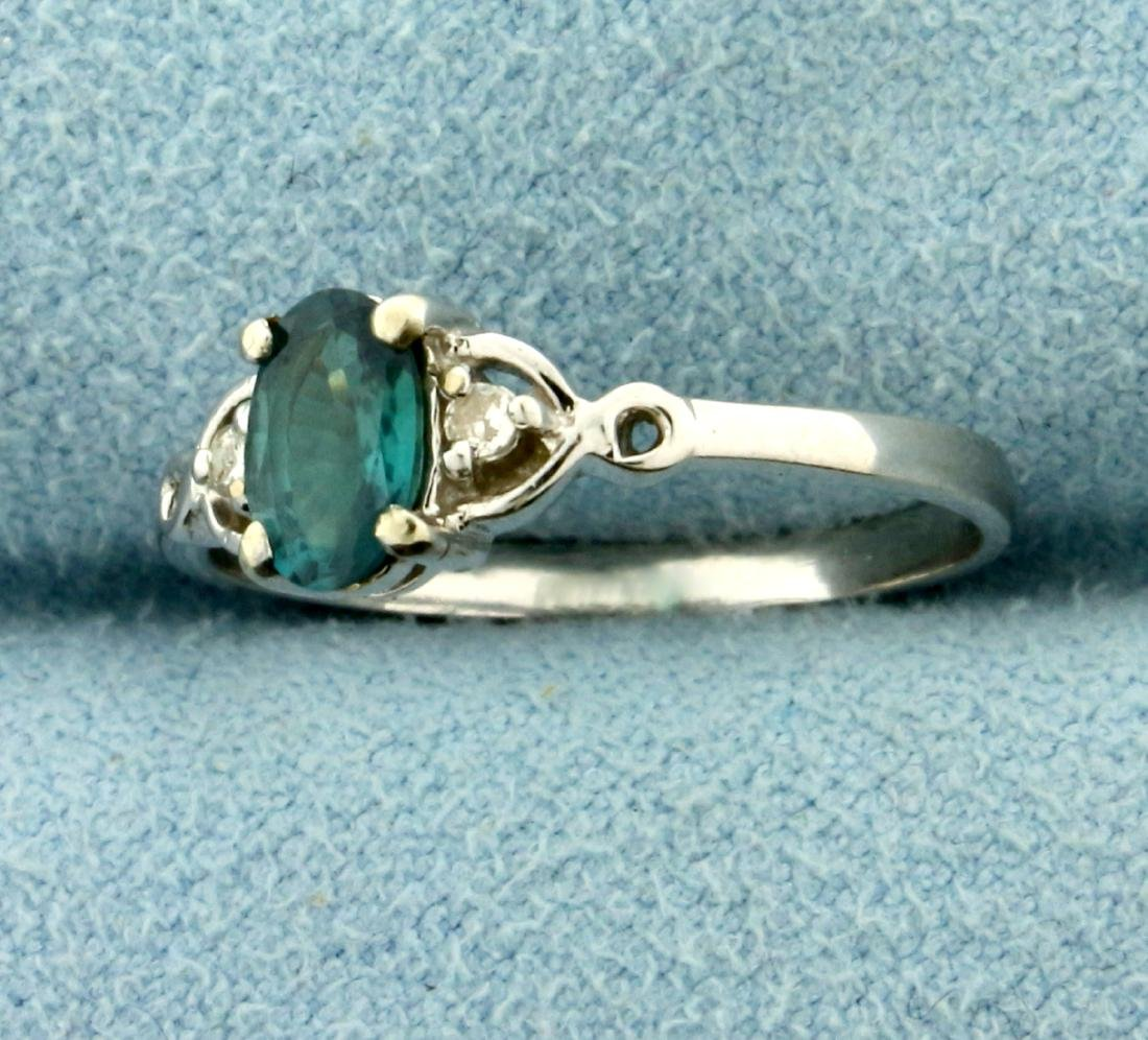 Alexandrite and Diamond Ring in 14K White Gold - 2