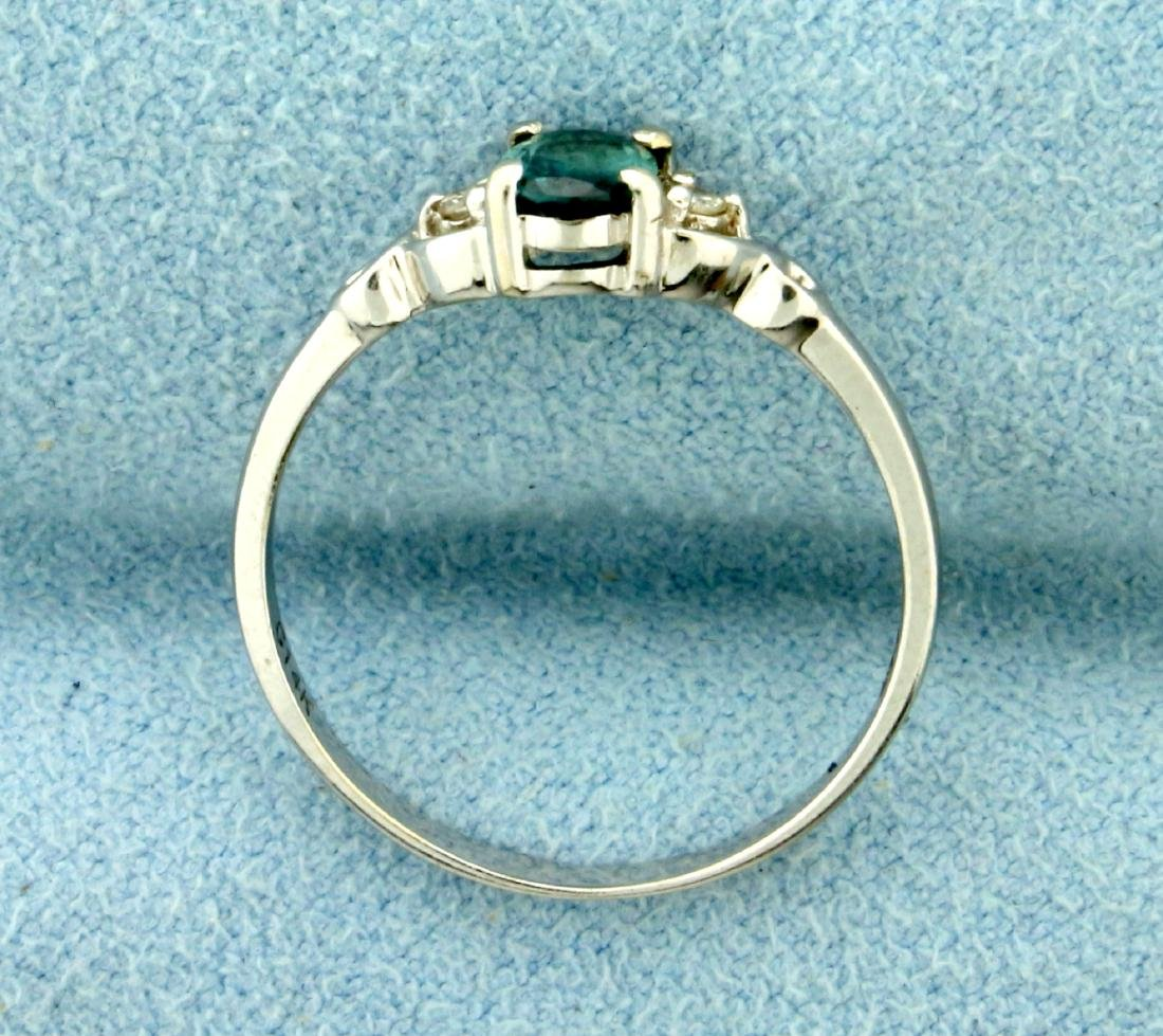 Alexandrite and Diamond Ring in 14K White Gold - 3