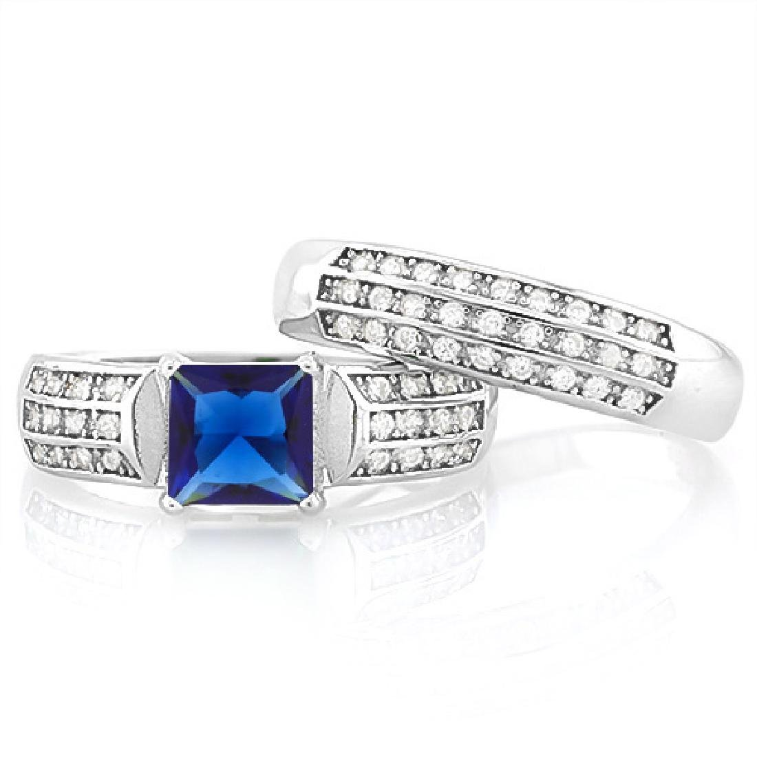 Large Lab Blue and White Sapphire 2 Ring SET in