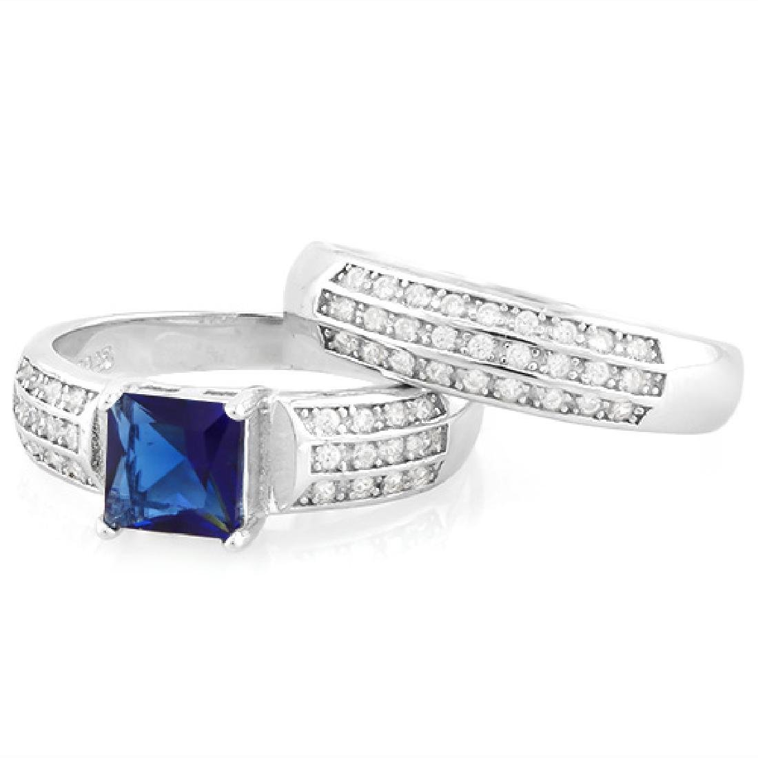 Large Lab Blue and White Sapphire 2 Ring SET in - 2