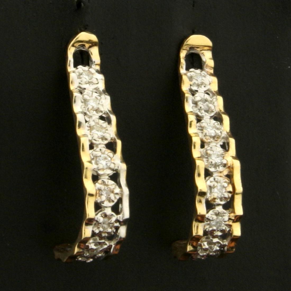 J Shaped Drop Diamond Earrings in 14K Yellow and White