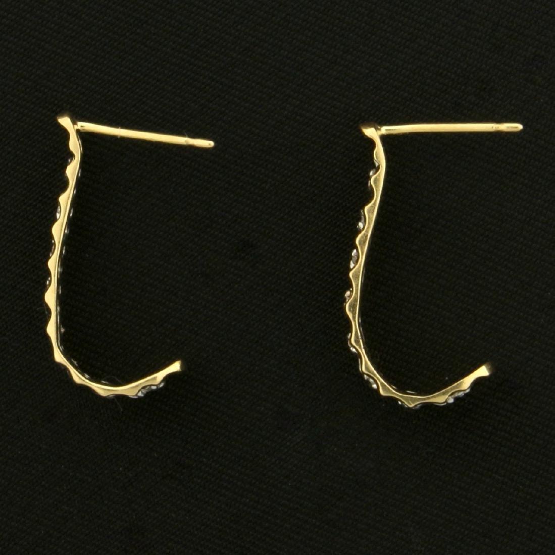 J Shaped Drop Diamond Earrings in 14K Yellow and White - 2