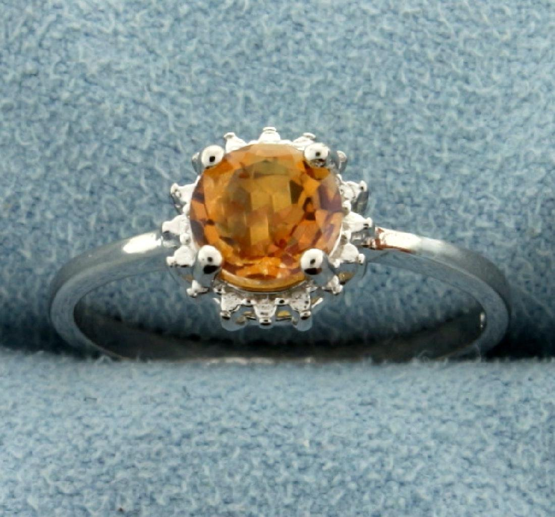 Citrine Sunburst Ring in Sterling Silver