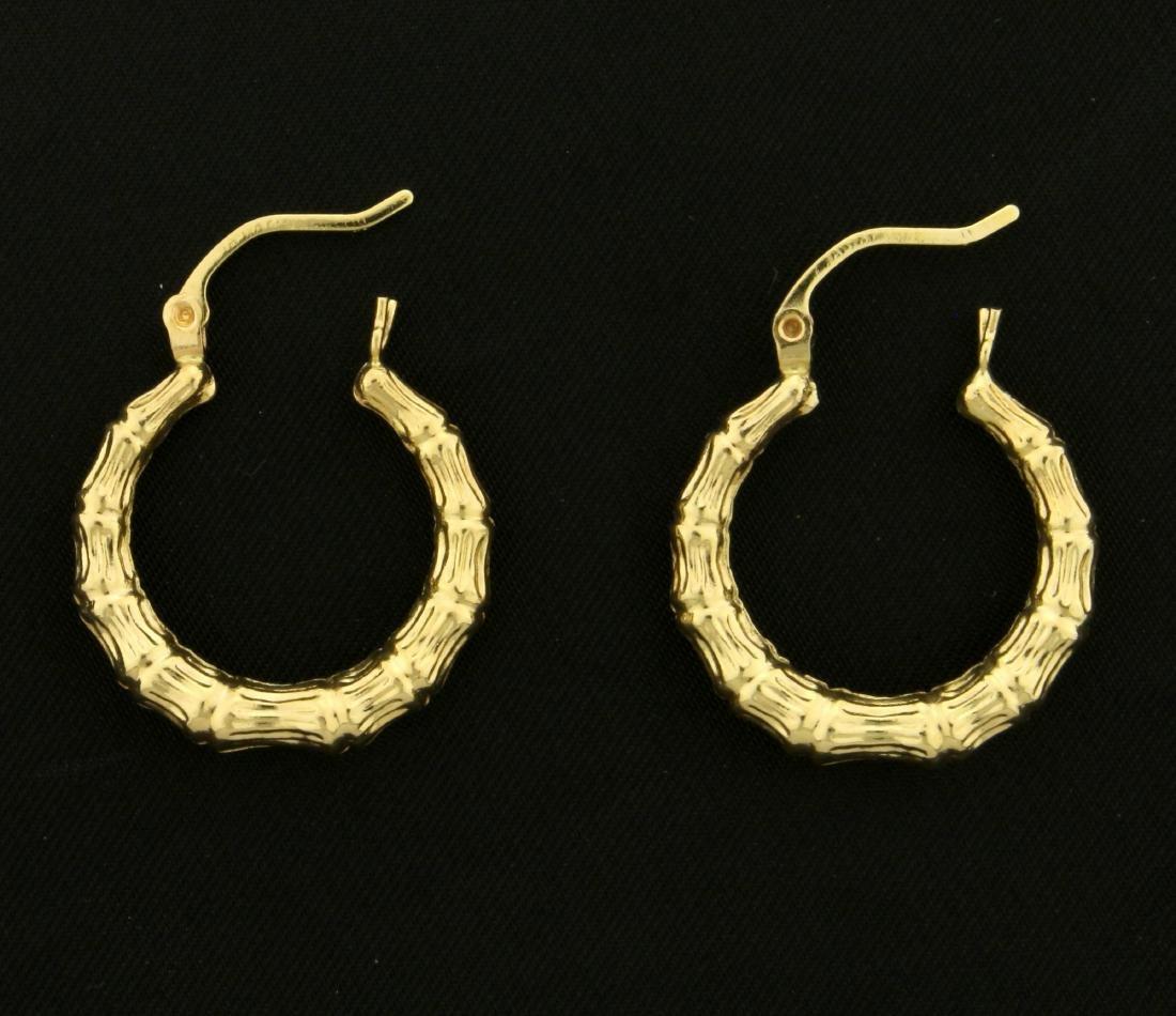 Bamboo Design Hoop Earrings in 14K Yellow Gold - 2