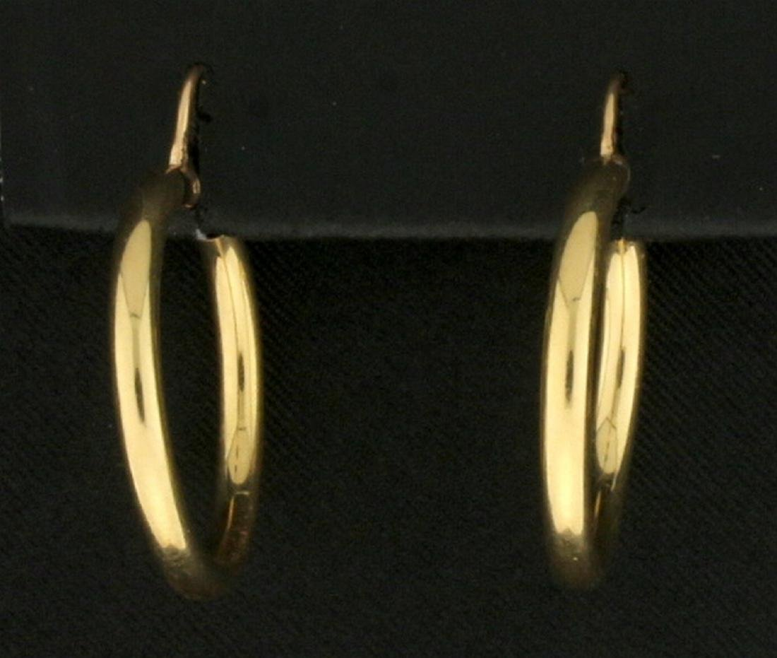 Simple Hoop Earrings in 14K Yellow Gold - 2