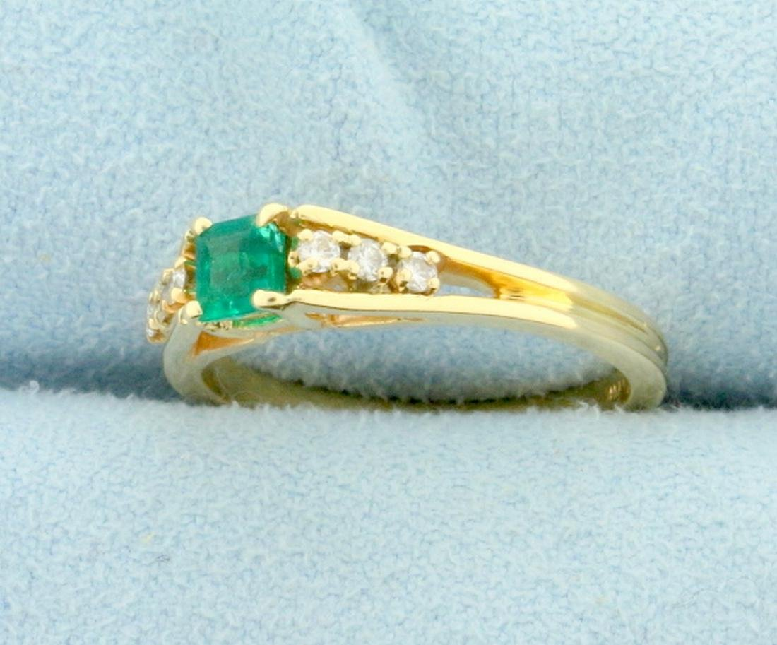 Natural Emerald and Diamond Ring in 14K Yellow Gold - 2