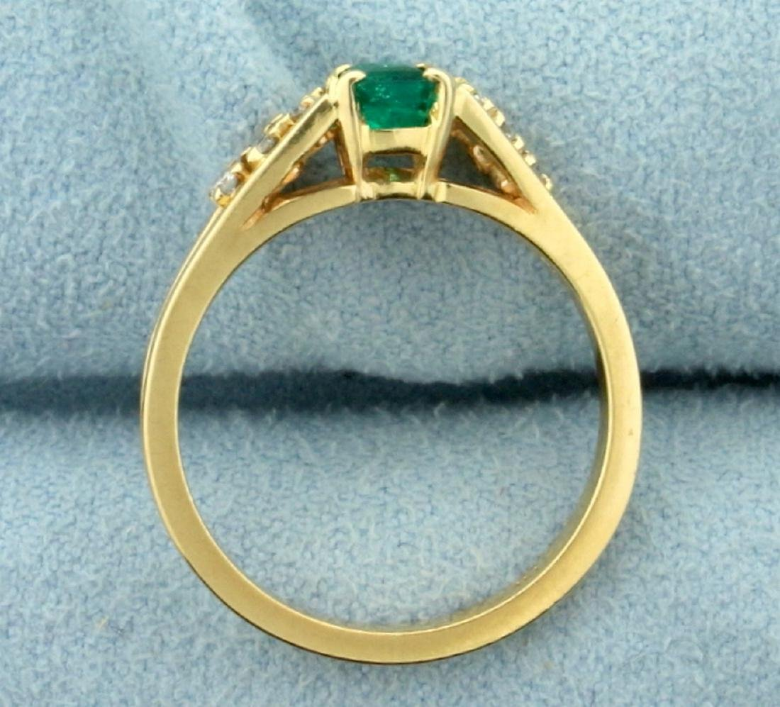 Natural Emerald and Diamond Ring in 14K Yellow Gold - 3
