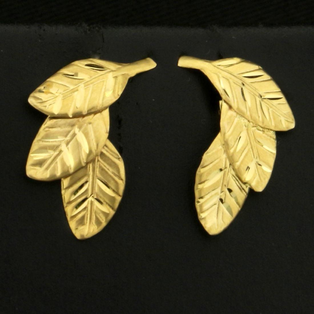 Diamond Cut Leaf Nature Earrings in 14K Yellow Gold