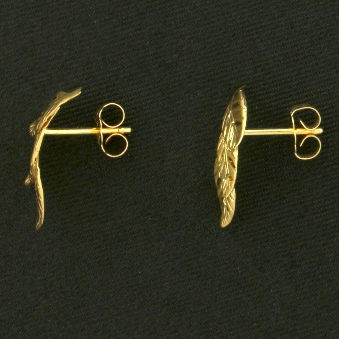 Diamond Cut Leaf Nature Earrings in 14K Yellow Gold - 2