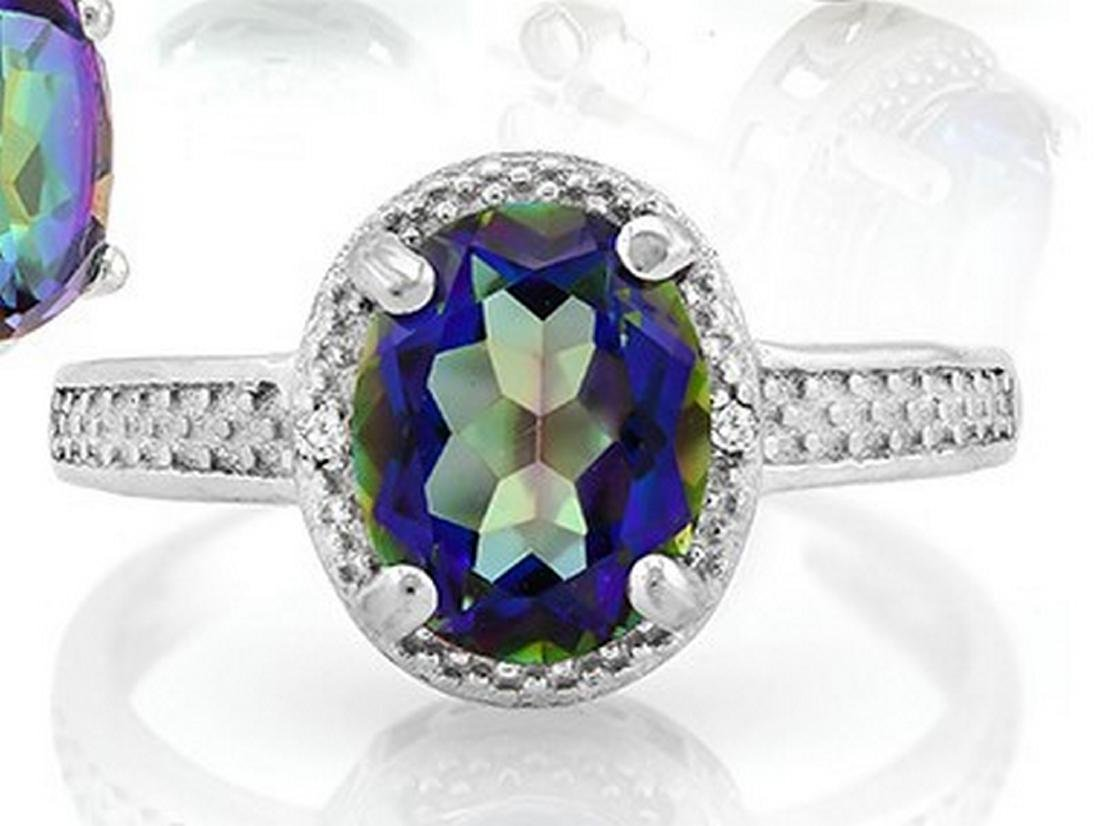 Large 2.5 Carat Ocean Mystic Topaz and Diamond Ring in - 2