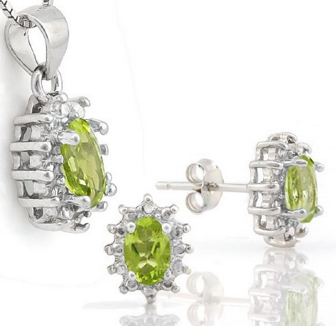 Peridot and Diamond Earring and Pendant Set in Sterling - 2