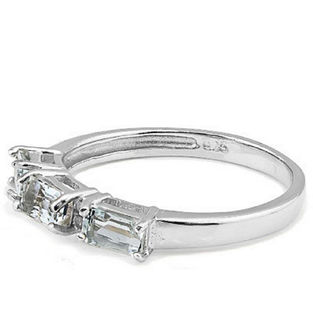 Aquamarine and Diamond Stacking Ring in Sterling Silver - 2