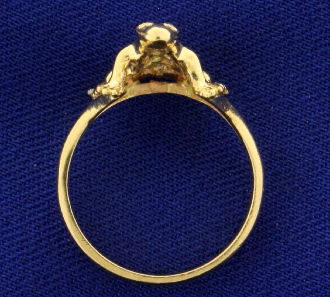 Custom Made Diamond Frog Ring in 14k Gold - 3