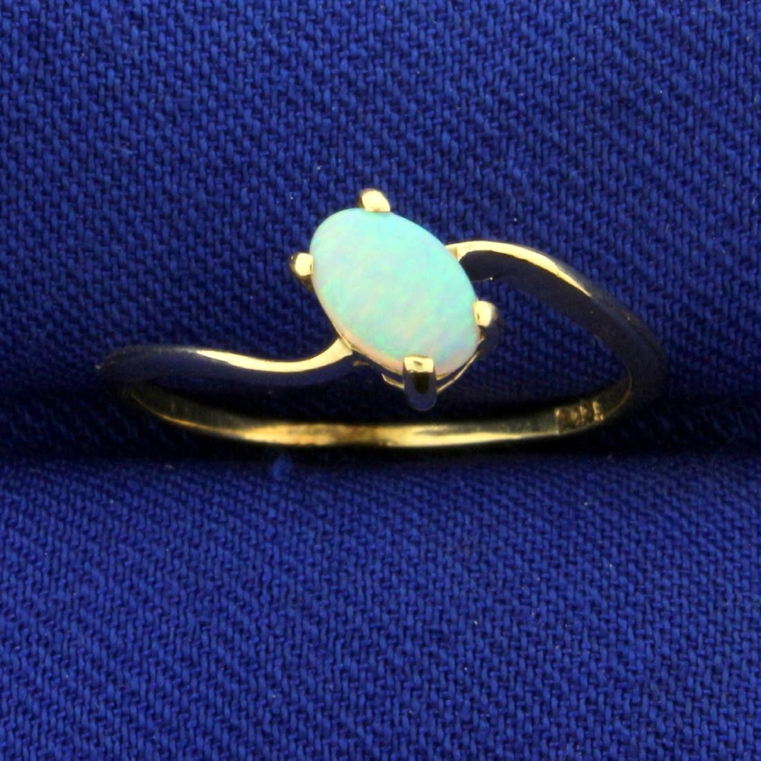 Solitaire Opal Ring in 14K Yellow Gold