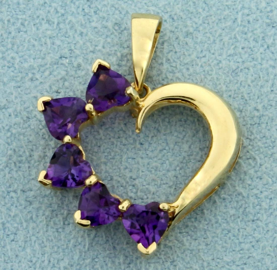 1ct TW Amethyst Heart Pendant in 14K Yellow Gold