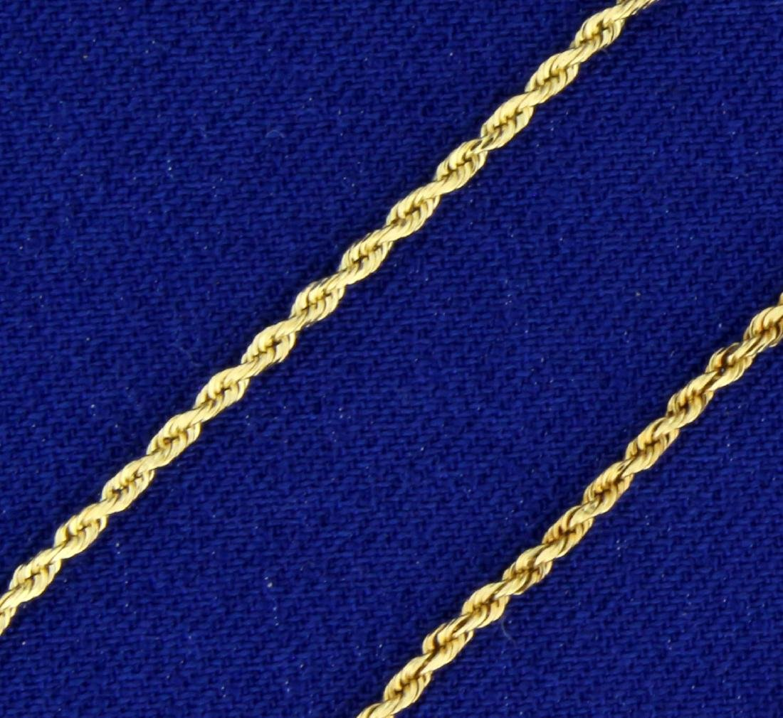 20 1/2 Inch Rope Style Neck Chain in 14K Yellow Gold - 2