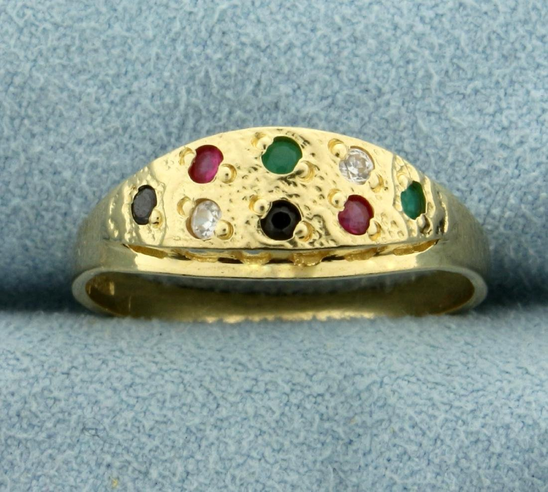Sapphire, Emerald, Ruby, Diamond, and Onyx Ring in 14K