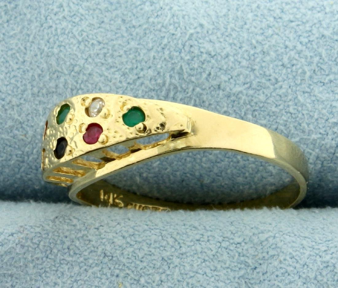 Sapphire, Emerald, Ruby, Diamond, and Onyx Ring in 14K - 2