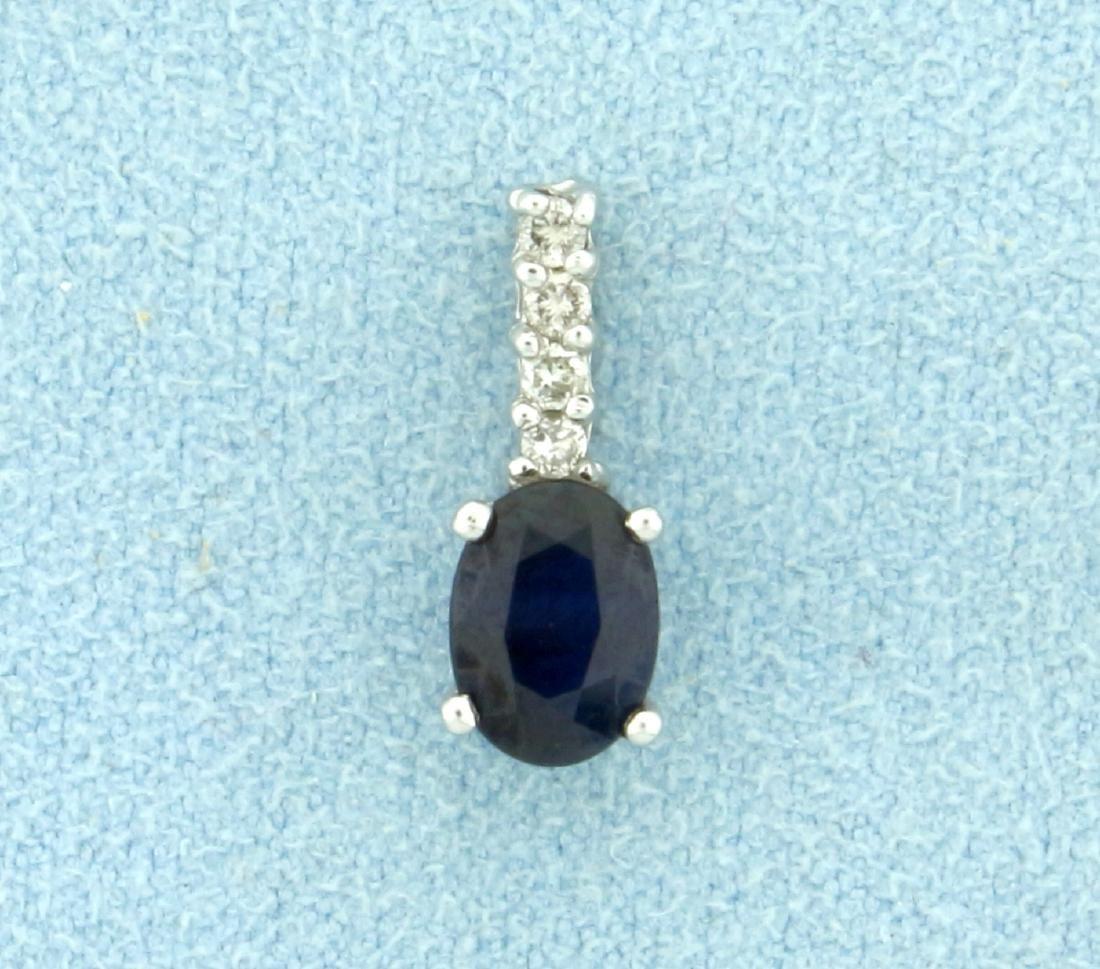 Sapphire and Diamond Pendant in Platinum