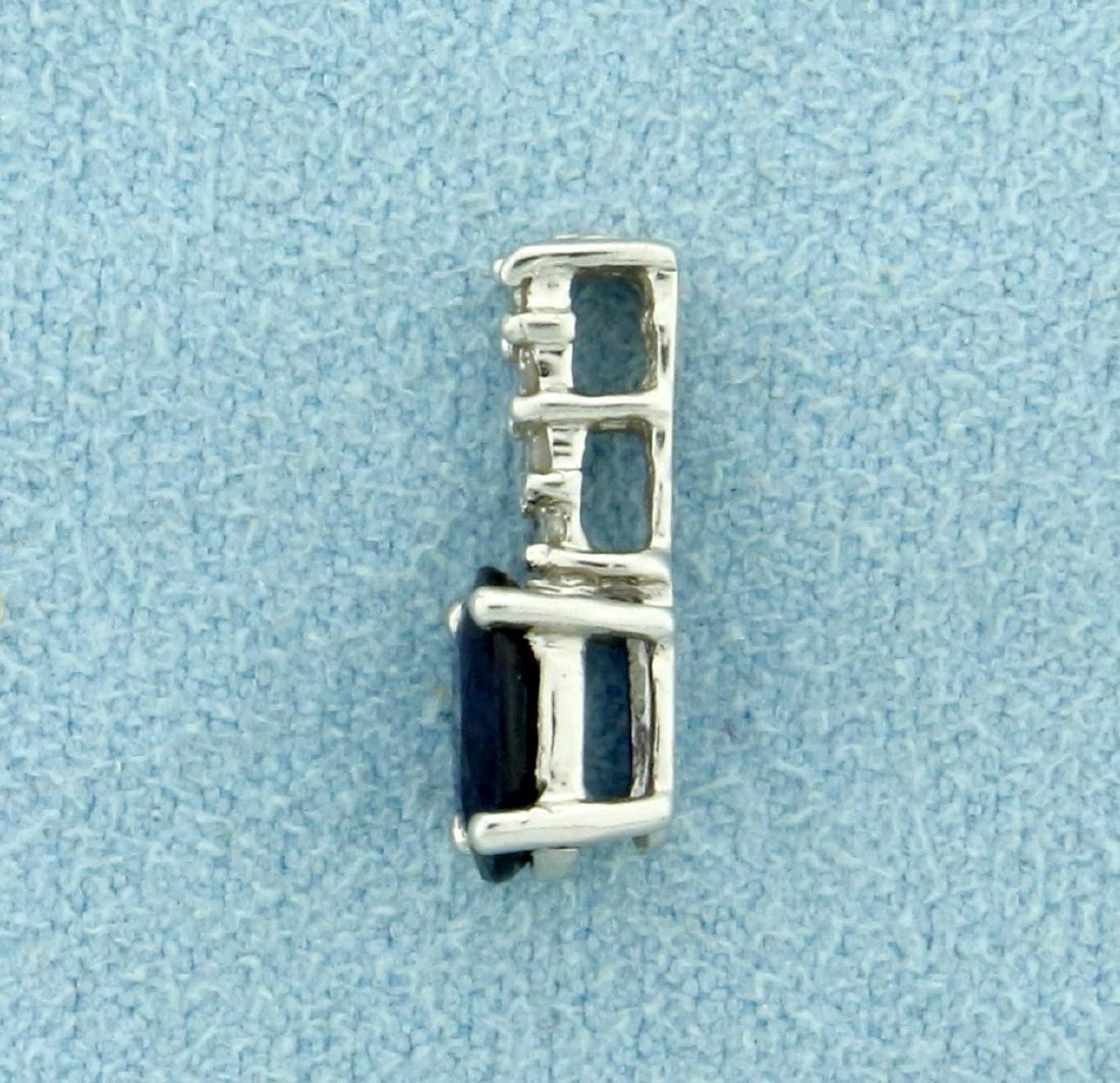 Sapphire and Diamond Pendant in Platinum - 2
