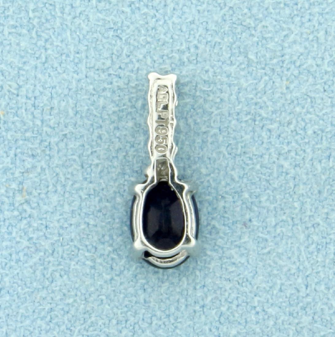 Sapphire and Diamond Pendant in Platinum - 3