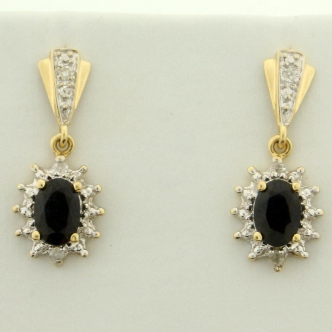 1ct TW Sapphire and Diamond Dangle Earrings in 14K