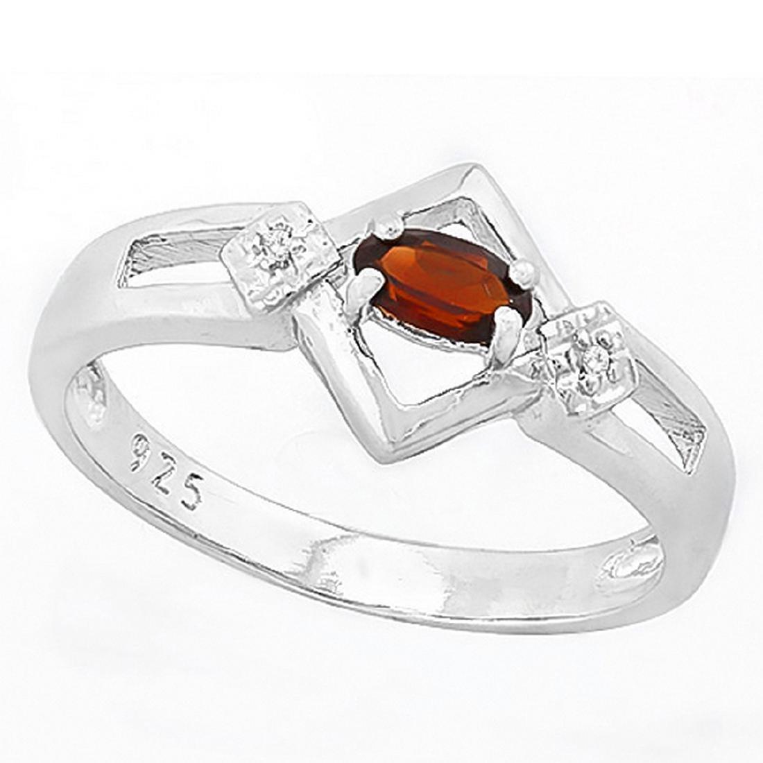 Art Deco Inspired Garnet and Diamond Ring in Sterling