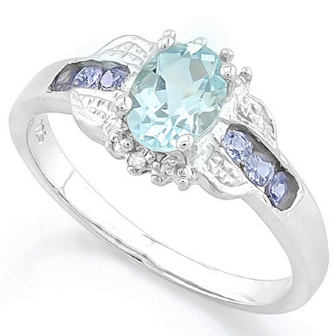 Tanzanite and Aquamarine Deco Style Ring in Platinum