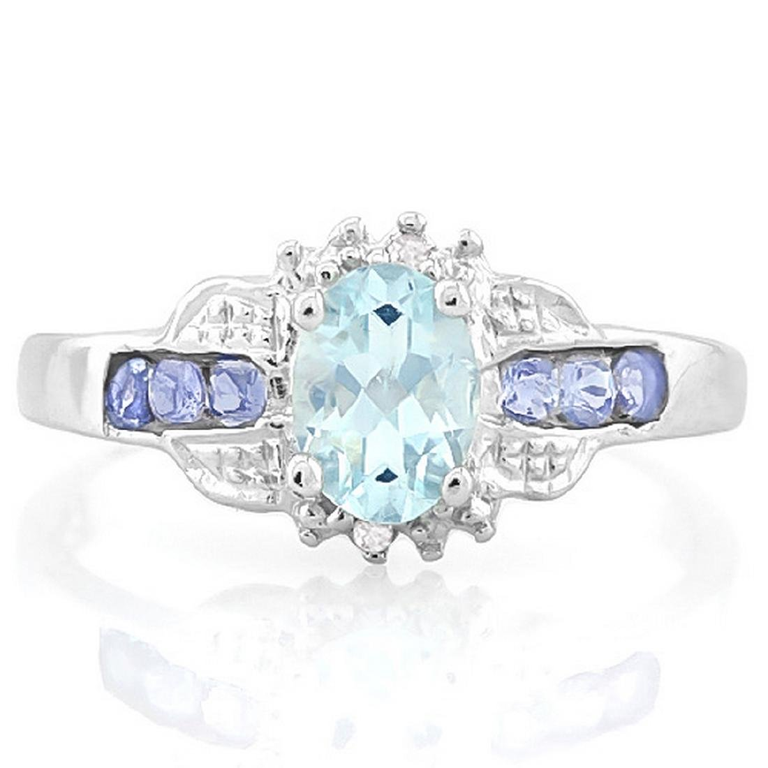 Tanzanite and Aquamarine Deco Style Ring in Platinum - 2