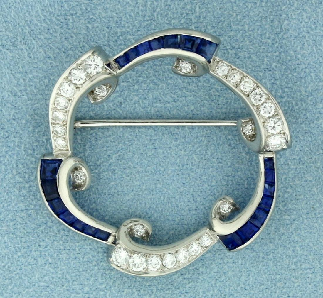 Over 1.5ct TW Natural Sapphire and Diamond Circle Pin