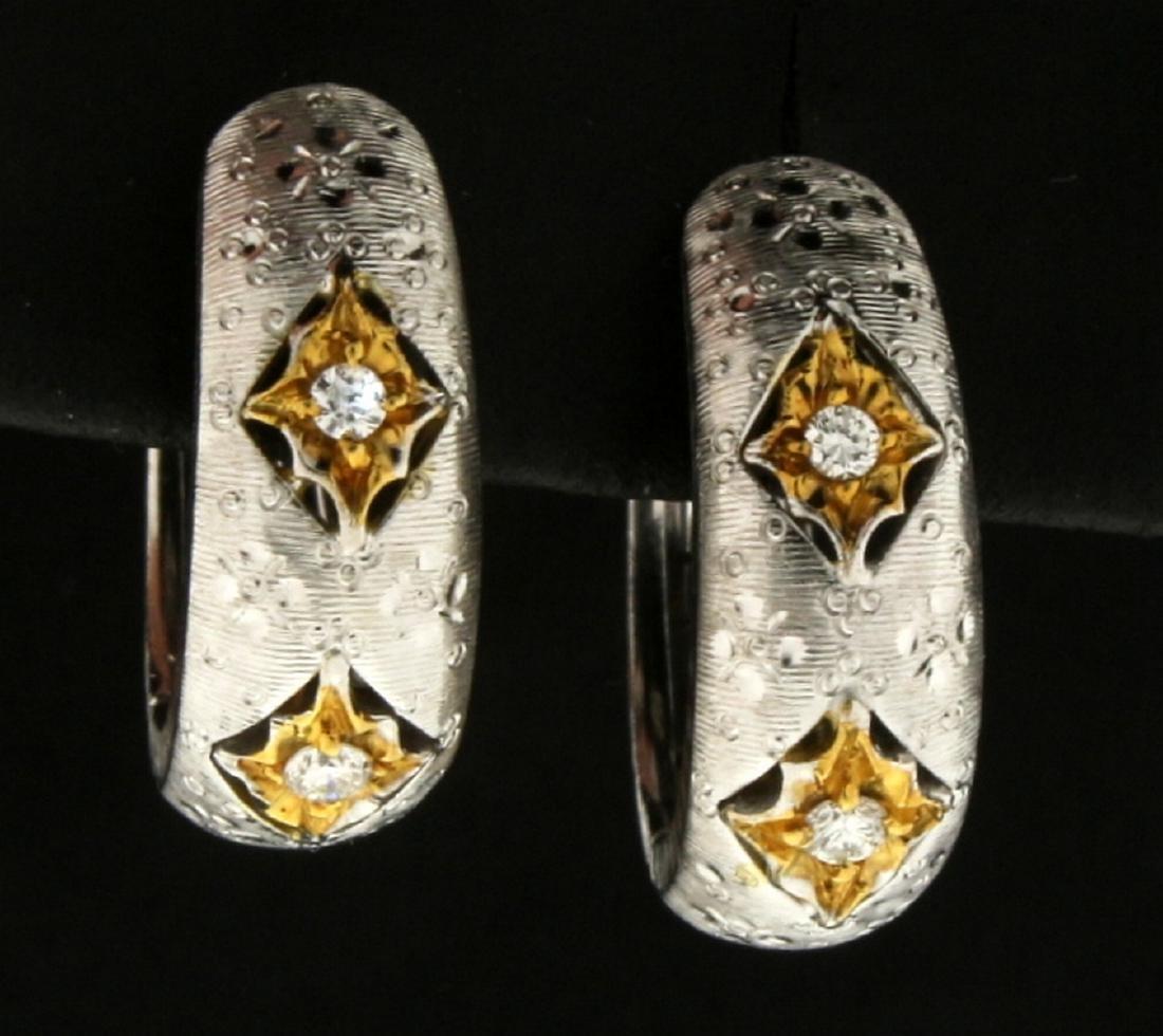 18k White and Yellow Gold Diamond Hoop Earrings
