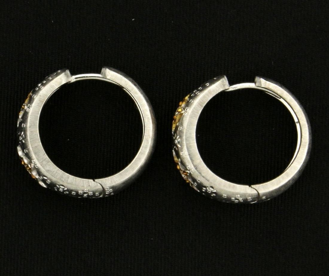 18k White and Yellow Gold Diamond Hoop Earrings - 2