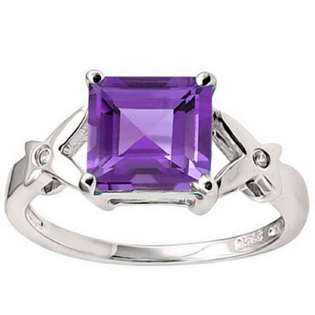 Princess Cut Amethyst Ring in Sterling Silver - 2
