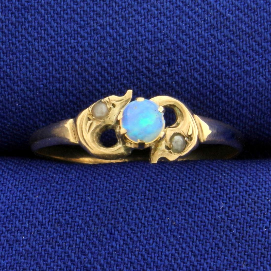 Vintage Opal and Seed Pearl Ring in 10K Rose Gold