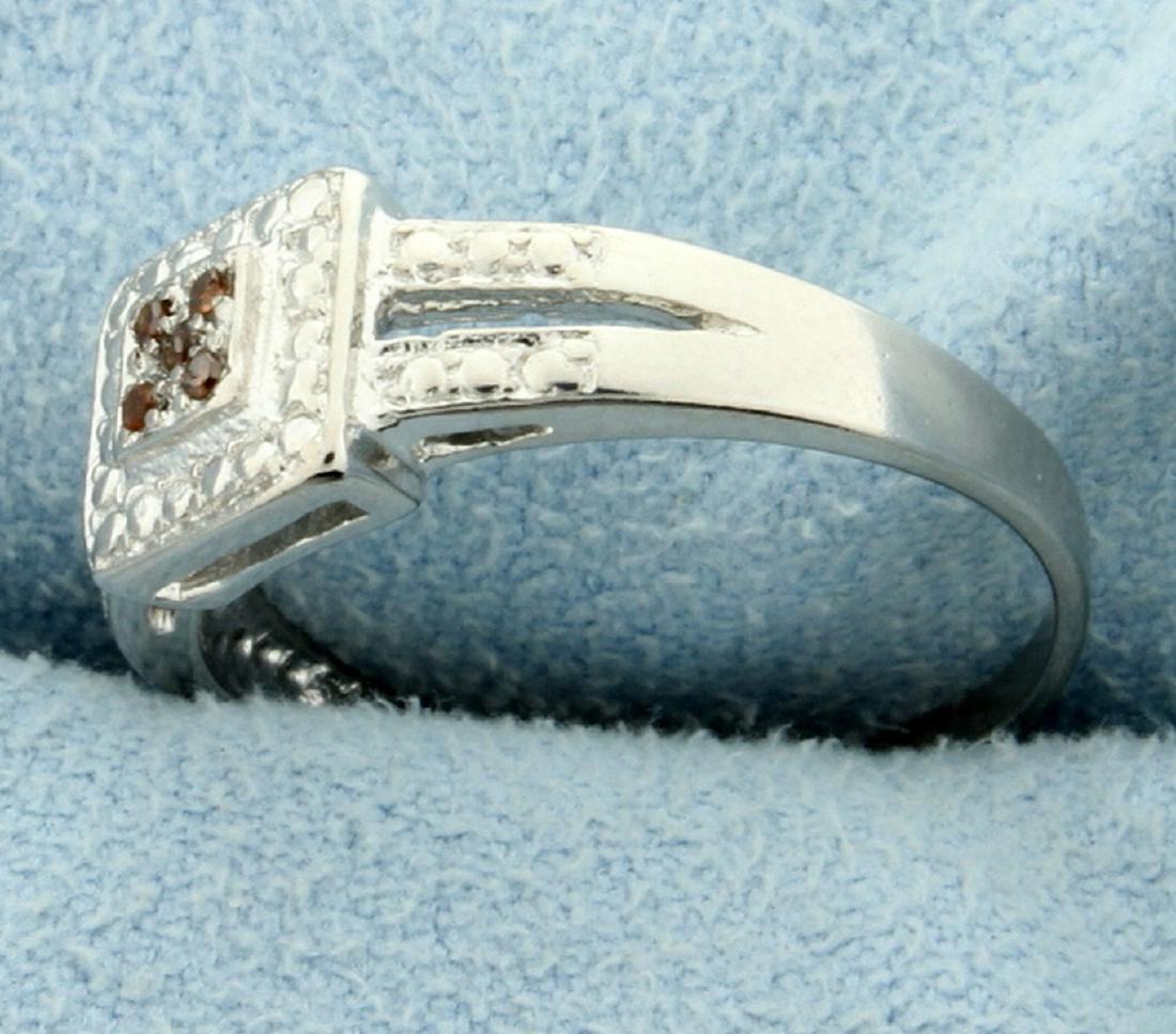 Red Diamond Ring in Split Shank - 2