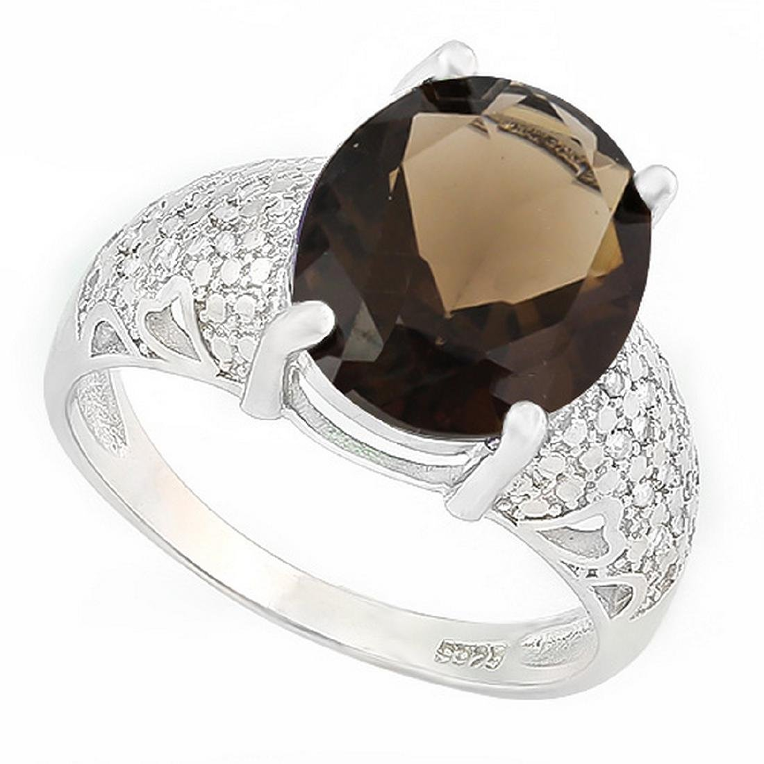 Huge Smoky Topaz Ring with Diamond Accent in Sterling