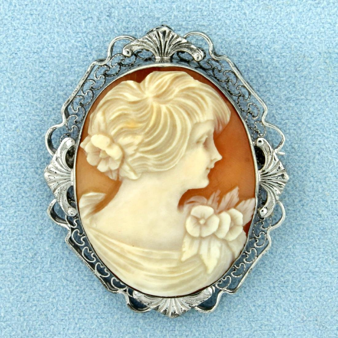Vintage Cameo Pin in Sterling Silver