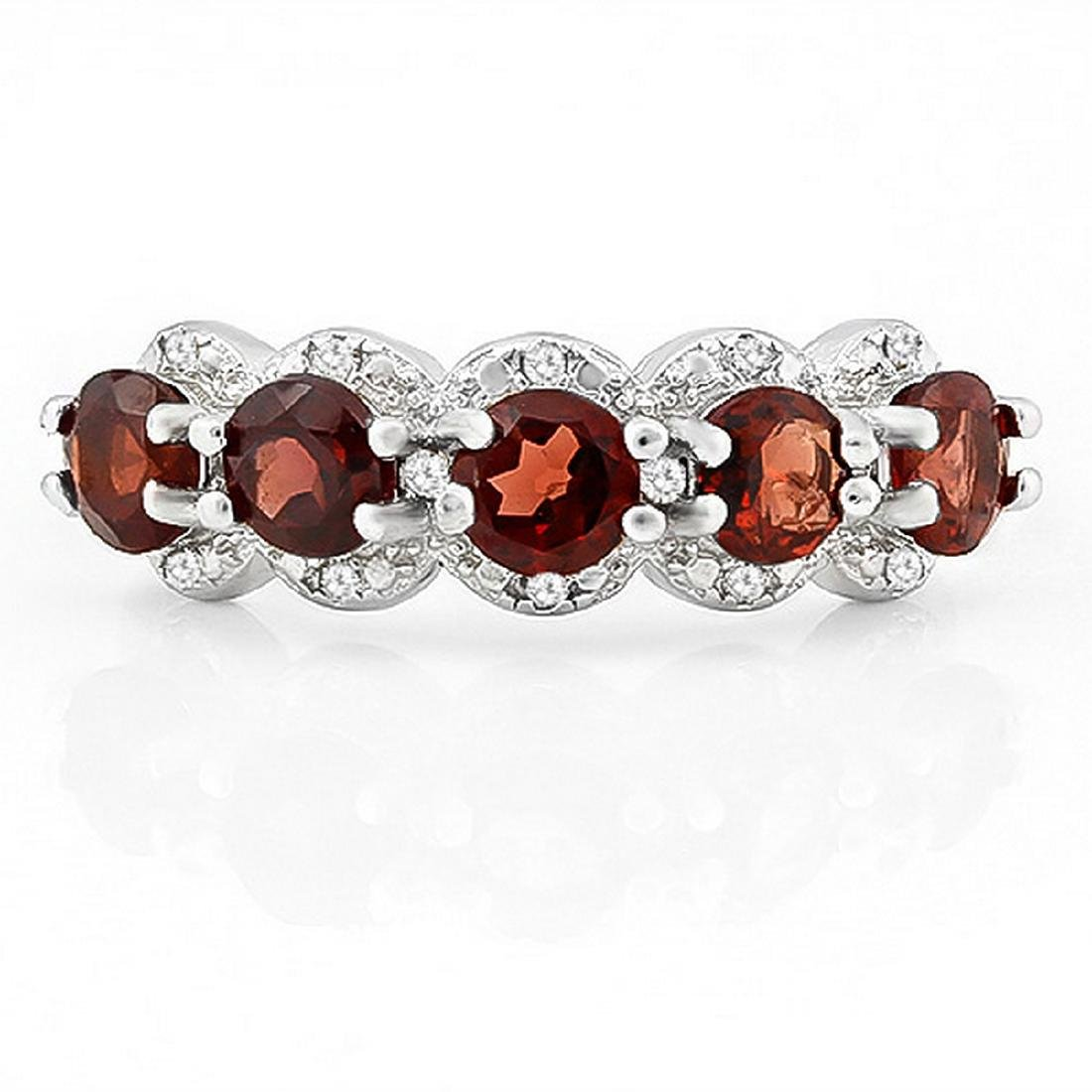 Garnet and Diamond Stacking Ring in Sterling Silver - 2