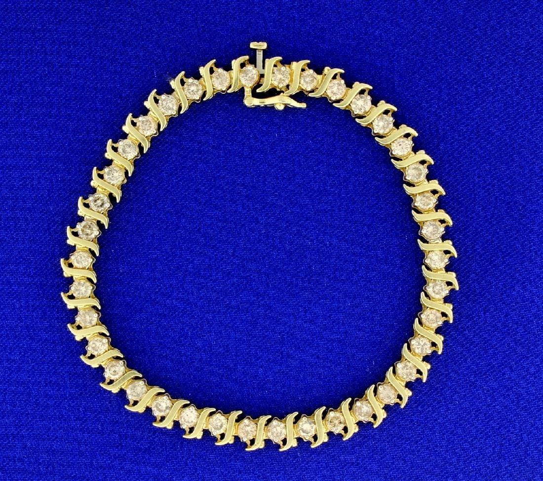 4ct TW Champagne Diamond Tennis Bracelet in 14k Yellow