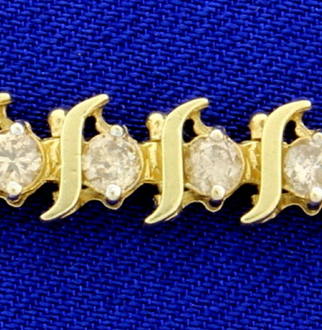 4ct TW Champagne Diamond Tennis Bracelet in 14k Yellow - 2