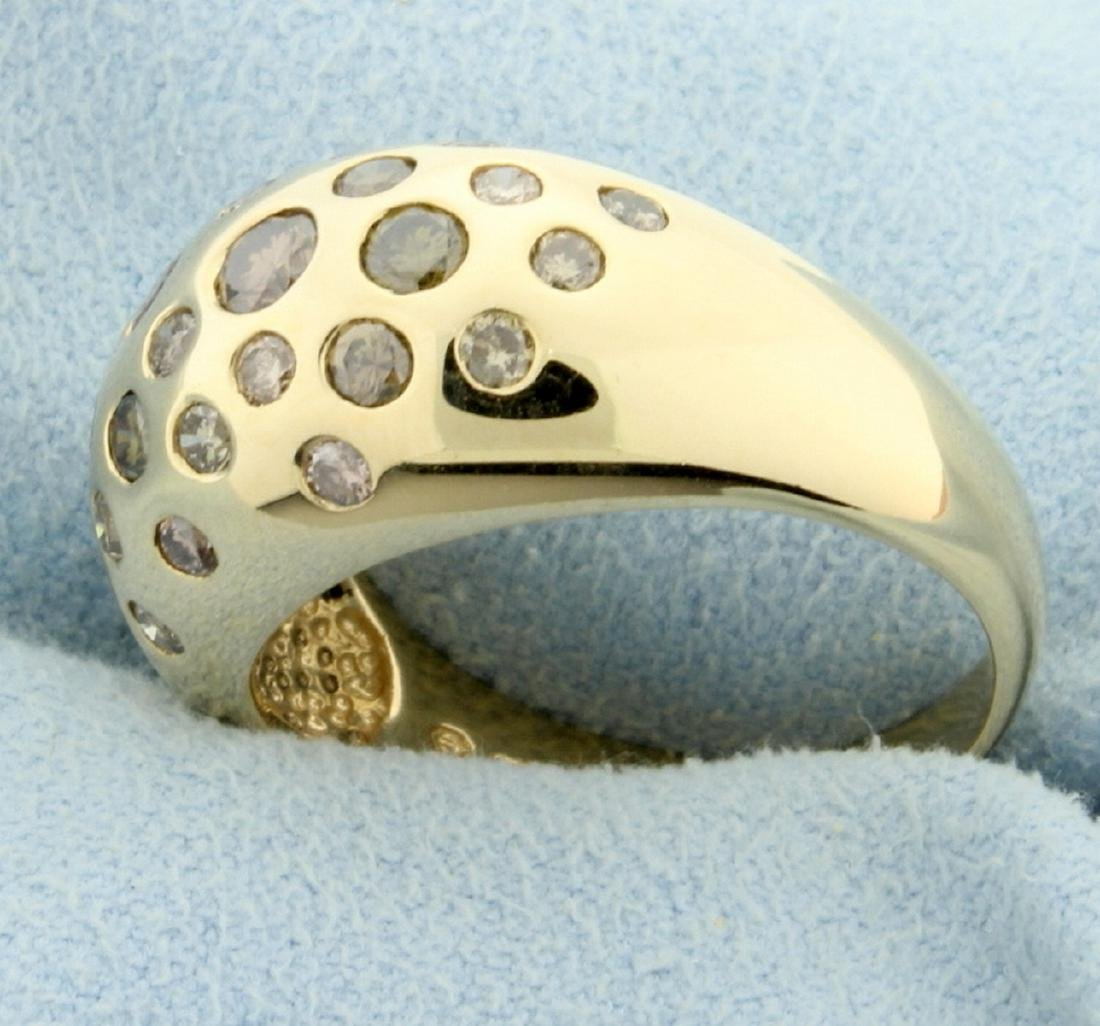 1.25ct TW Chocolate, Champagne, and White Diamond Ring - 2