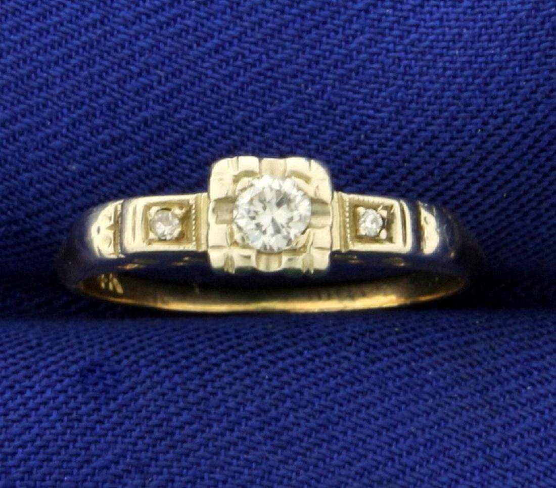 Vintage Three Stone Diamond Ring in 14K Yellow and