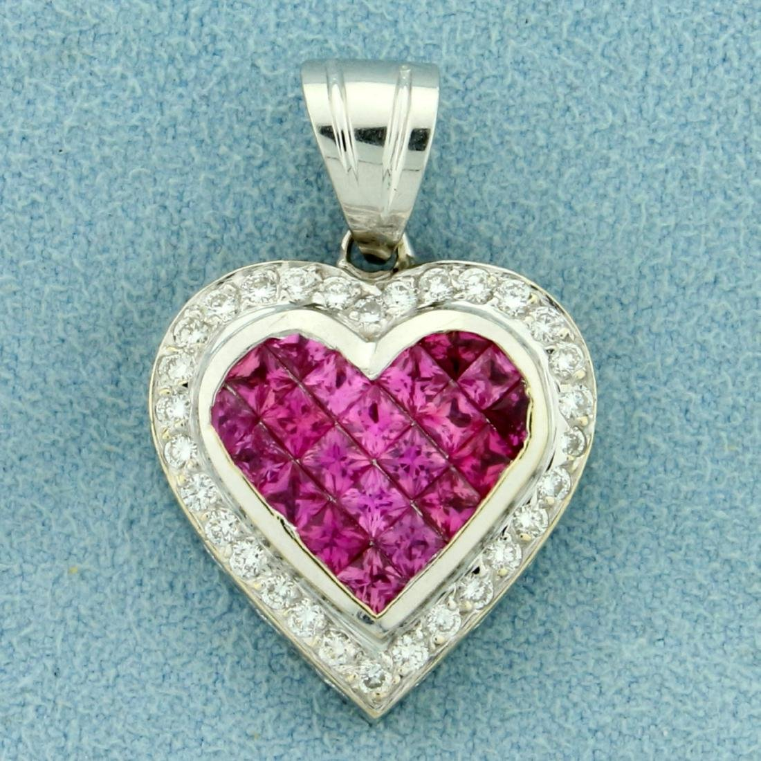 Natural Pink Sapphire and Diamond Heart Pendant in 18K