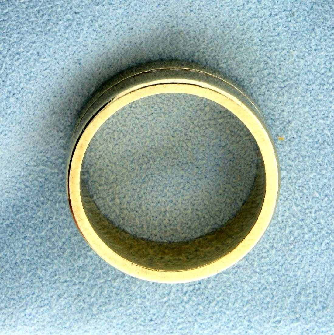 Unique 14K Yellow and White Gold Wide Wedding Band Ring - 2