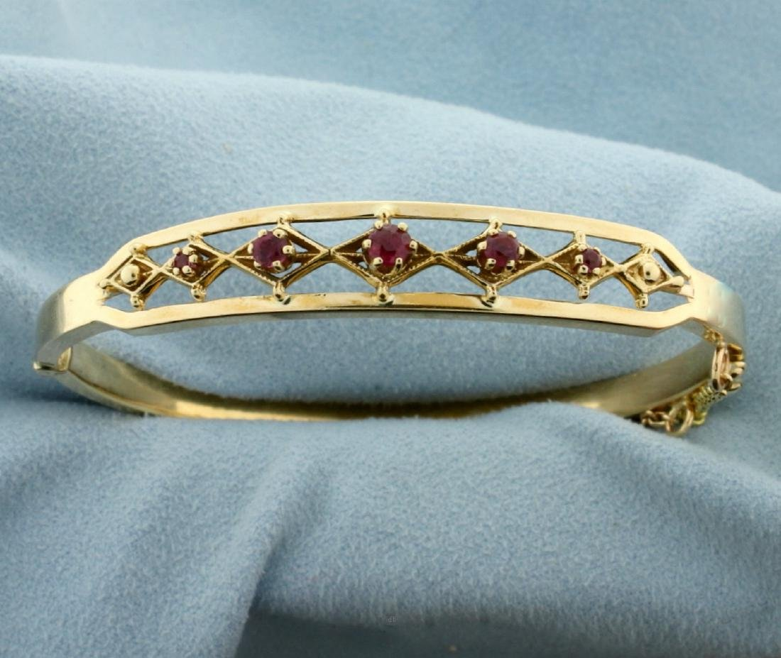 Natural Ruby Bangle Bracelet in 14K Yellow Gold