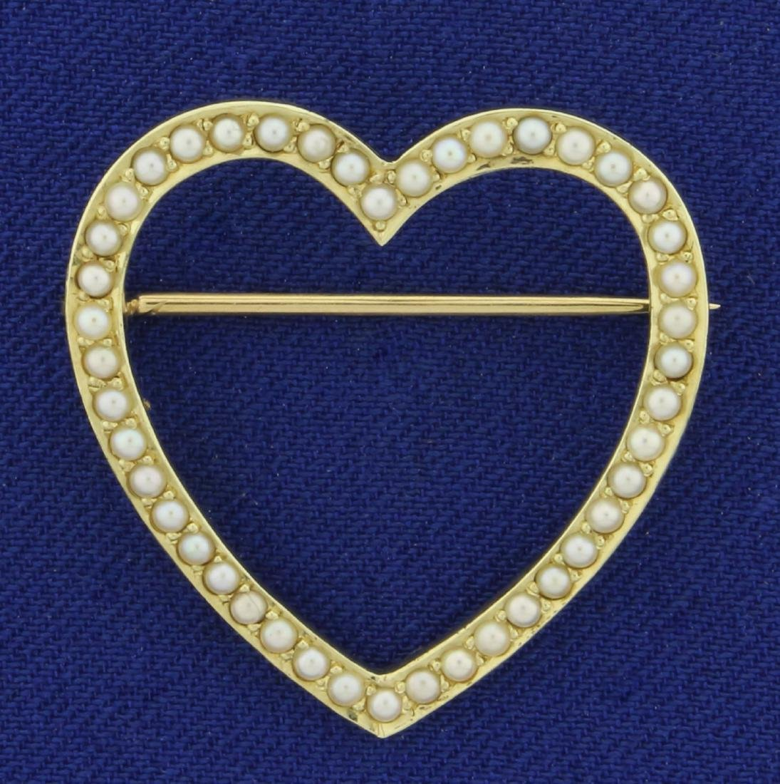 Victorian Pearl Heart Pin with Seed Pearls in 14K