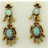 Vintage Opal Dangle Earrings in 14K Yellow Gold