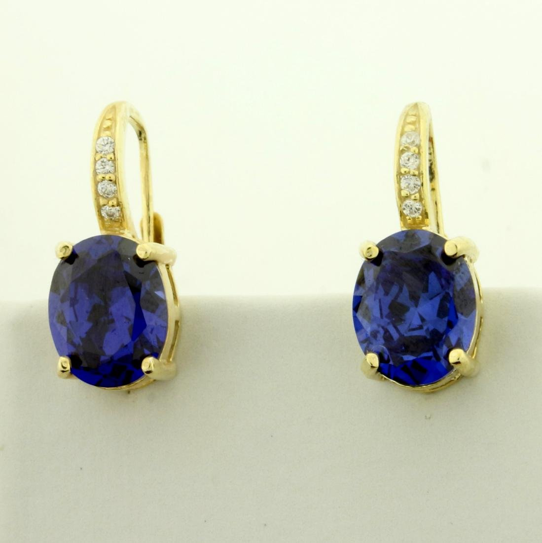 6ct TW Lab Tanzanite and CZ Earrings in Sterling Silver