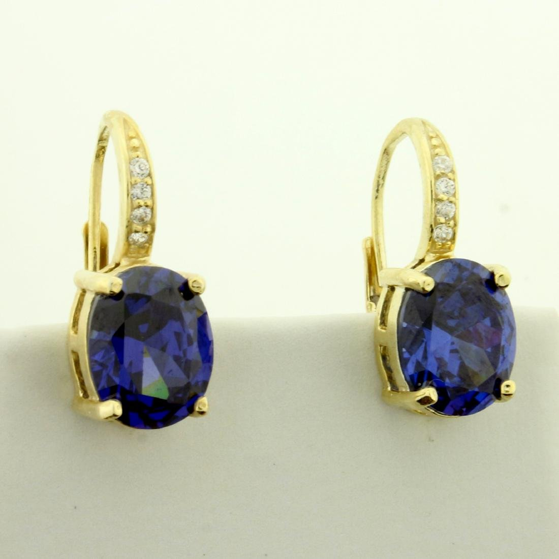 6ct TW Lab Tanzanite and CZ Earrings in Sterling Silver - 2