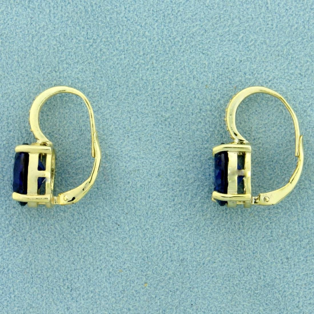 6ct TW Lab Tanzanite and CZ Earrings in Sterling Silver - 3